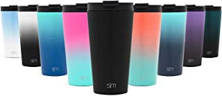 Simple Modern 16oz Classic Tumbler with Straw Lid & Flip Lid - Travel Mug Gift Vacuum Insulated Coffee Beer Pint Cup - 18/8 Stainless Steel Water Bottle - Midnight Black