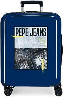 Pepe Jeans Nolan Valise de cabine bleue 40 x 55 x 20 cm rigide ABS fermeture TSA intégrée 38,4 L 2 kg 4 roues doubles baga...