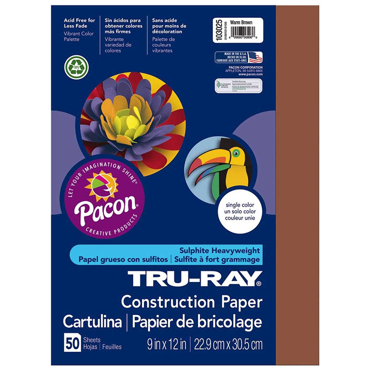 Tru-Ray Heavyweight Construction Paper, Warm Brown,  9