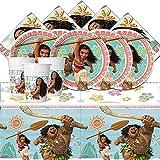 Le fantasie di casa Kit de fiesta de 53 piezas Vaiana rosa original Disney juego de cumpleaños para 16 niñas.