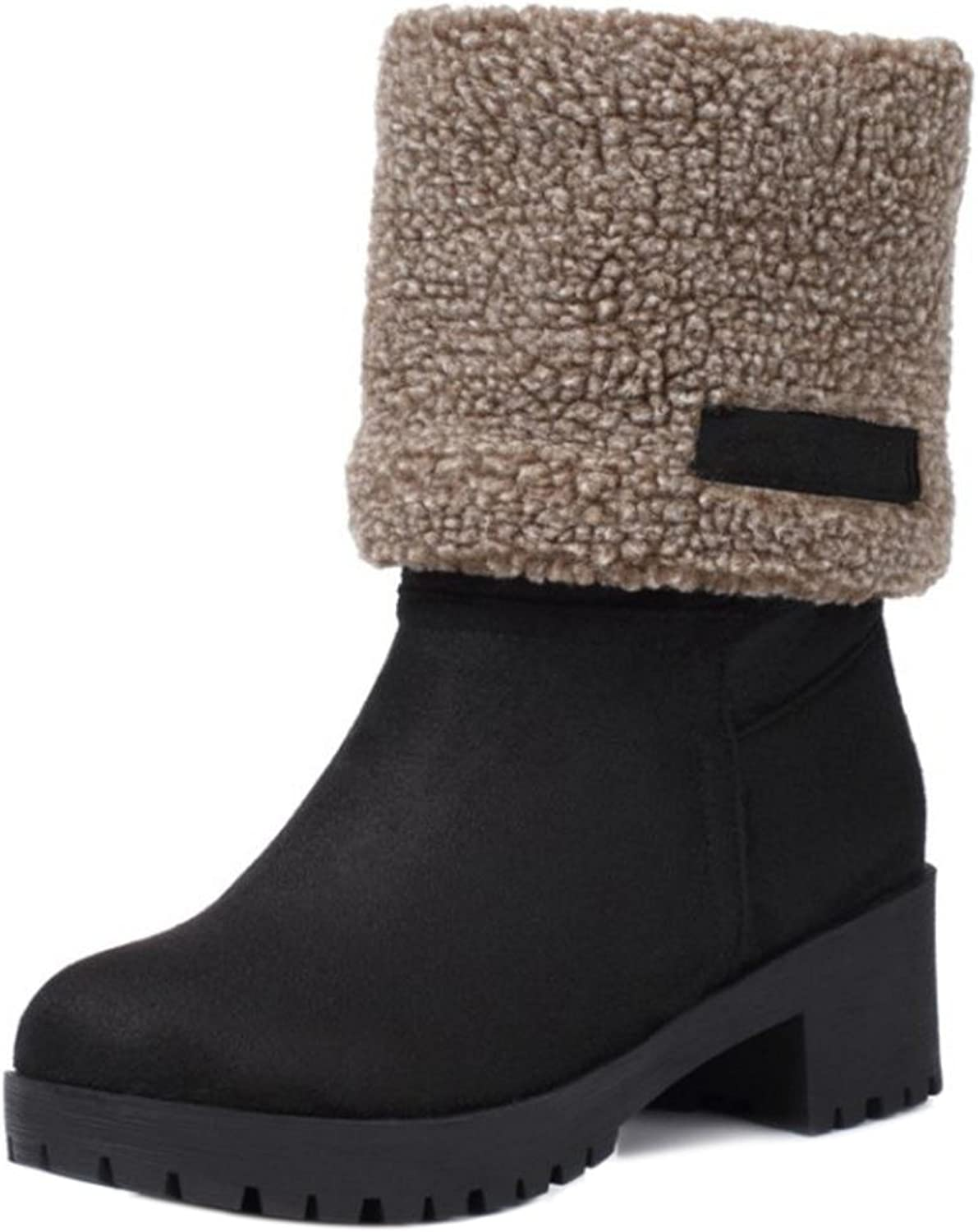 FizaiZifai Women Boots Pull On Ankle Mid Calf