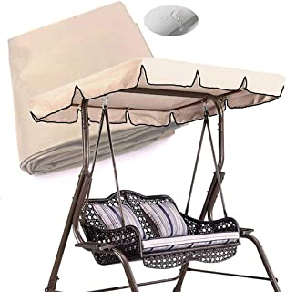 skyfiree Patio Swing Canopy Replacement Cover 600D Polyester 75''x 52'' - 2 Years Warranty - Waterproof Canopy Top Cover 3 Seater Replacement Canopy UV Block Garden Outdoor Porch Patio Swing Beige