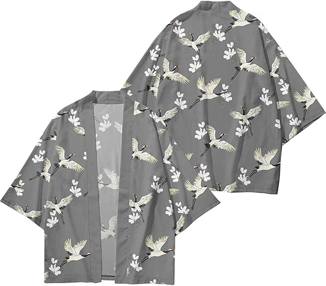 Floral Crane Printed Kimono Cardigan Men Japanese Traditional Casual Loose Thin Set