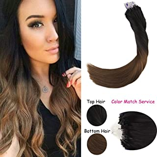 LaaVoo 20 Inch Ombre Remy Human Straight Hair Extensions Microbead Natural Black Fading to Brown Micro Loop Hair Extensions 1g/s 40g+10g for free,50g/pack in Total