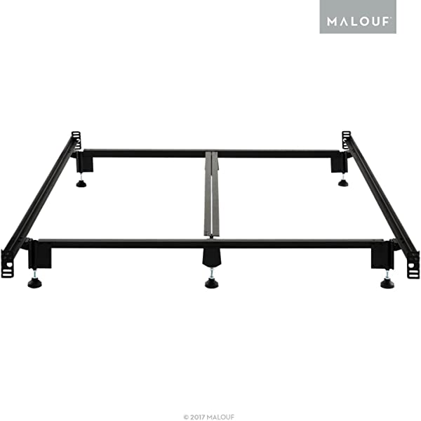 MALOUF Structures STEELOCK Headboard Footboard Super Duty Steel Wedge Lock Metal Bed Frame With Adjustable Height Glides Functions As Bed Rails