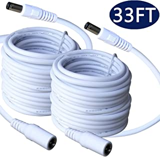 5.5mm x 2.1mm Extension Cord 33FT, DC 12v Power Supply Adapter for CCTV Security Camera Surveillance Indoor Wireless IP Camera Dvr Standalone LED Strip, Car, 12 Volt Male to Female Plug Cable 2 Pack