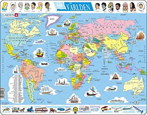 Larsen K1 El Mapa político Mundial, edición en Sueco, Puzzle de Marco con 107 Piezas