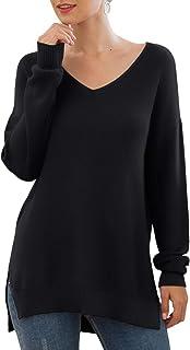 Women's V-Neck Long Sleeve Side Split Loose Casual Knit...