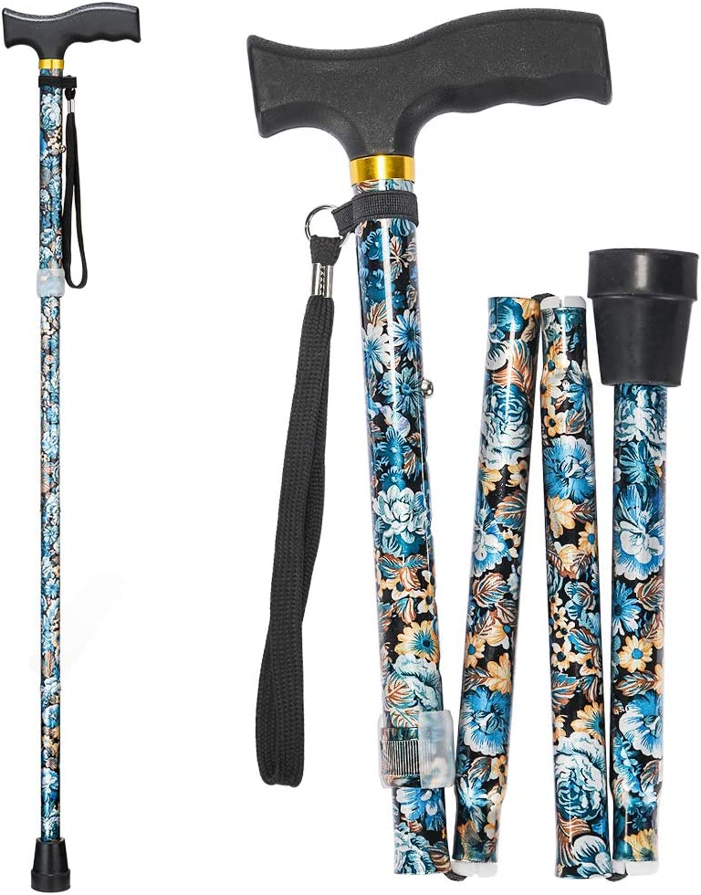 Folding Walking Cane, LIXIANG, 5-Level Height Adjustable Walking Stick for Men & Women with Comfortable Plastic T-Handle Portable Walking Stick, Blue Floral Printing: Health & Personal Care