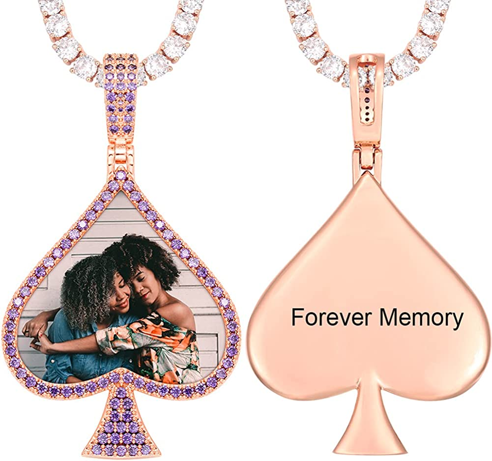 YIMERAIRE Personalized Picture 新着セール Necklace 完全送料無料 Heart Custom Photo Text