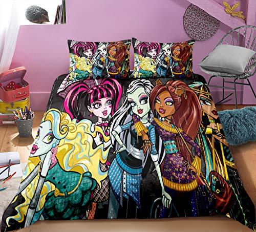WMZ-SC Monster High - Juego de cama (funda nórdica de 135 x 200 cm, 3 piezas, funda de almohada de 80 x 80 cm (4,220 x 240 cm + 50 x 75 cm)
