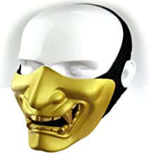 Supspy Samurai Airsoft Mask Tactical Prajna Half Face Hannya Oni Motorcycle Evil Demon Knight Kabuki Mask for Halloween Cosplay Costume Hunting Shooting