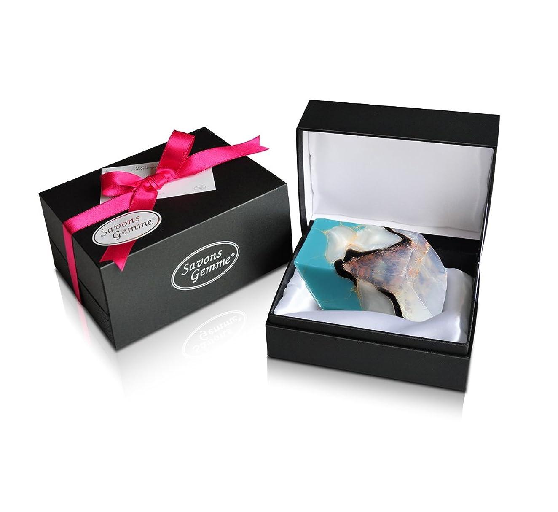 散らす財団うがい薬Savons Gemme サボンジェム ジュエリーギフトボックス 世界で一番美しい宝石石鹸 フレグランス ソープ ターコイズ 170g