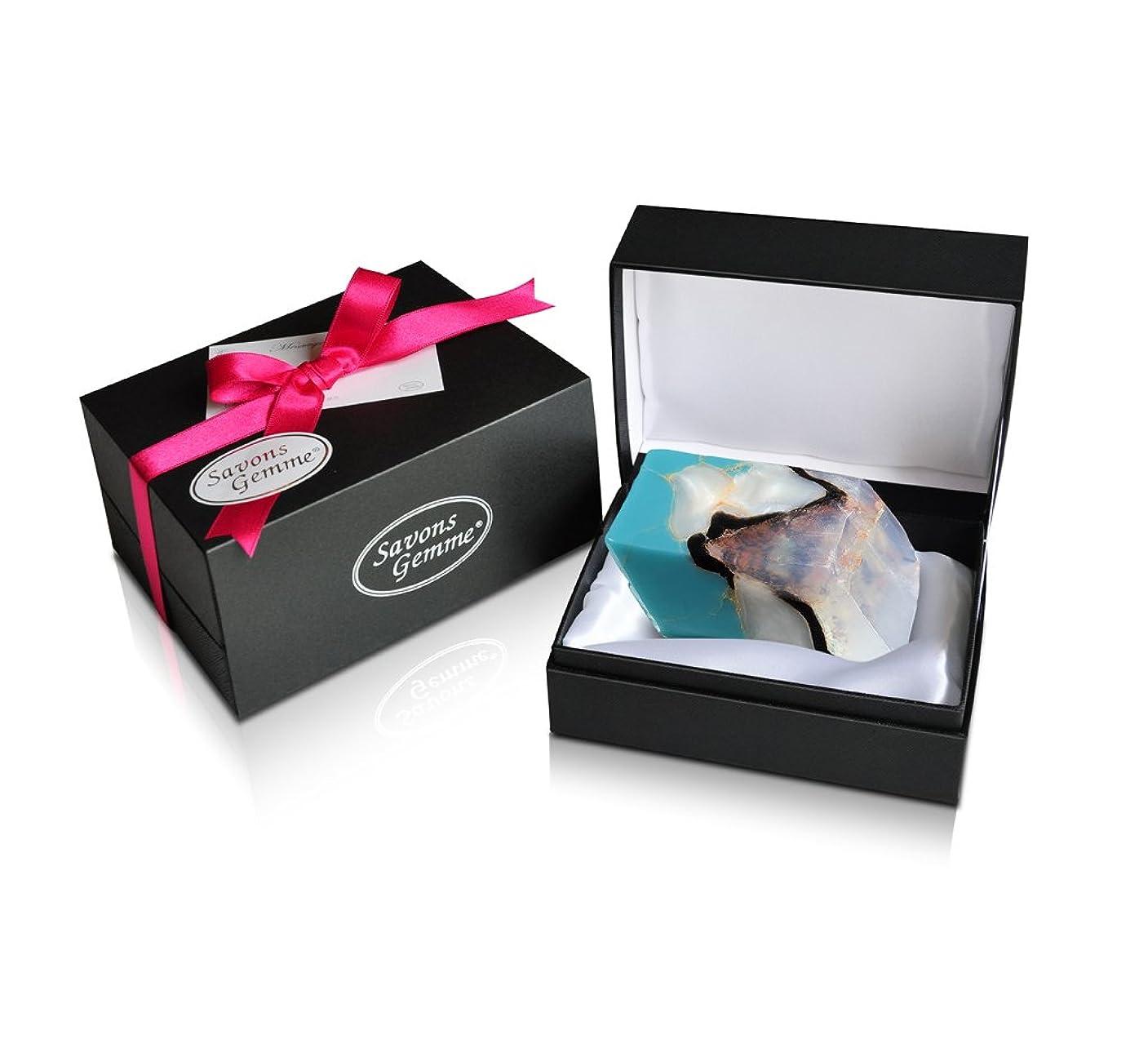 存在する親密な修羅場Savons Gemme サボンジェム ジュエリーギフトボックス 世界で一番美しい宝石石鹸 フレグランス ソープ ターコイズ 170g