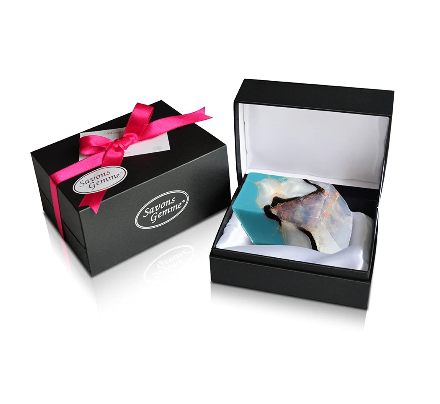 巨人先入観うつSavons Gemme サボンジェム ジュエリーギフトボックス 世界で一番美しい宝石石鹸 フレグランス ソープ ターコイズ 170g