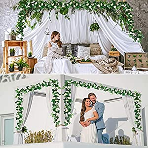 laponee 2 pcs fake rose vine flowers plants artificial flower hanging rose ivy home hotel office wedding party garden arch arrangement craft art decor (white) silk flower arrangements