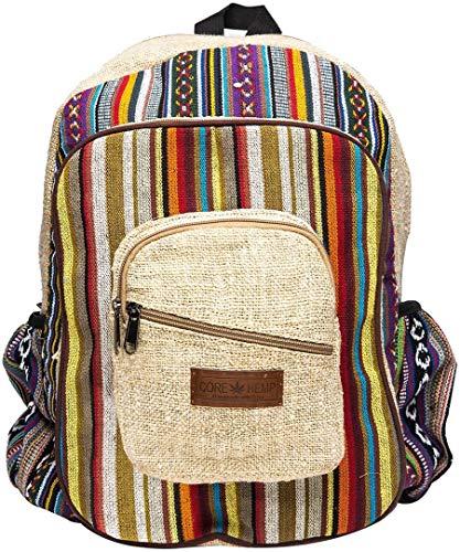 Core Hemp Boho-Rucksack – Handgemachter Schulrucksack aus 100% Bio-Hanf – Bunte Computer-Tasche mit mehreren Fächern – leichte Reisetasche – Unisex (Boho)