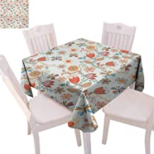 VICWOWONE Polyester Square Tablecloth Dragonfly Easy to Clean Cute Tulip Floral Blossom Ornate Pattern with Butterflies Artsy Illustration (Square,W63 x L63) Multicolor