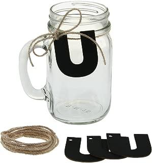 Ivy Lane Design Mason Jar 12 Mugs Kit with Jute and Chalkboard, Letter U