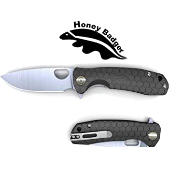 Western Active Honey Badger Drop Point Pocket Knife Folding Flipper EDC Every Day Carry Deep Pocket Carry for Outdoor Tactical Survival Camping 8Cr13Mov & D2 Steel Models