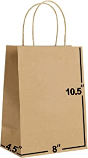 [100 Bags] 8 X 4.5 X 10.5 Kraft Paper Gift Bags Bulk with Handles. Ideal for Shopping, Packaging, Retail, Party, Craft, Gi...