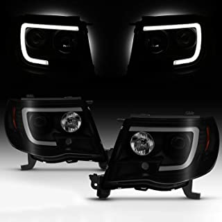 Fits 2005-2011 Toyota Tacoma [U-Tube Bar] Halogen Type Projector Black Smoked Headlights Pair Driver+Passenger