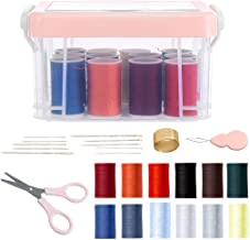 MINISO 12-Color Needlework Box Set Tailoring Sewing Kit with All Accessories, Pink