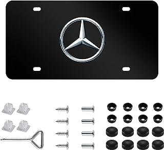 Best Mercedes Benz Logo Black Stainless Steel Front License Plate with Caps CLA CLS C E S SL SLK GL for Mercedes Benz (DIY Logo) Reviews