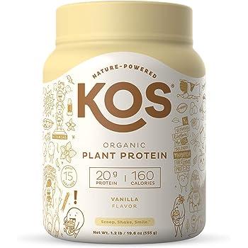 KOS Organic Plant Based Protein Powder, Vanilla - Delicious Vegan Protein Powder - Gluten Free, Dairy Free & Soy Free - 1.2 Pounds, 15 Servings