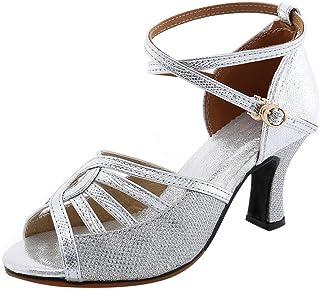 Zapatos de Baile Latino con Brillo para Mujer Sandalias de Baile de Salsa Tacón Alto/Medio Hebilla Calzado de Danza Moda Z...