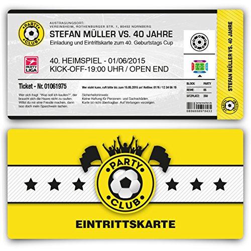 Einladungskarten zum Geburtstag (50 Stück) als Fußballticket Karte Fussball Einladung Ticket in Gelb