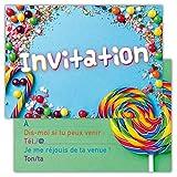 Lot de 12 Cartes d'invitation pour Anniversaire, Partie, fête Cartons d'invitation en Français Motif