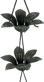 Zeckos Verdigris Finish Metal Lily Flower Rain Chain w/Attached Hanger 48 Inch