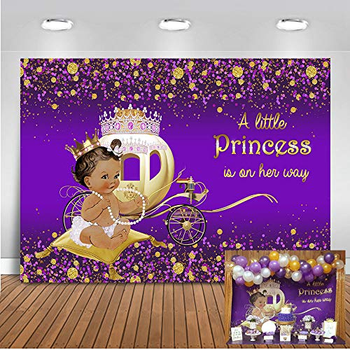 Mocsicka Little Princess Backdrop 7x5ft Dark Skin Girl Gold Carriage Baby Shower Photo Backdrops Ruffle Skirt and Necklace Purple Photography Background