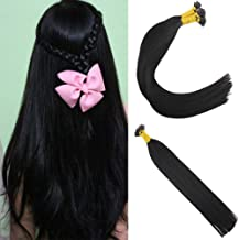 JoYoung 24inch #1 Jet Black Itip Human Hair Extensions Cold Fusion Remy Premium Pre Bonded Hair Extensions I Tip Human Hair 1g/strand 50g
