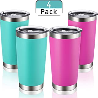 4 Pack 20 OZ Stainless Steel Insulated Tumbler Double Wall Vacuum Travel Mug with Splash Proof Lid - Travel Insulated Coffee Mug for Ice Drink, Hot Beverage (2 Aqua Blue, 2 Rose Red)