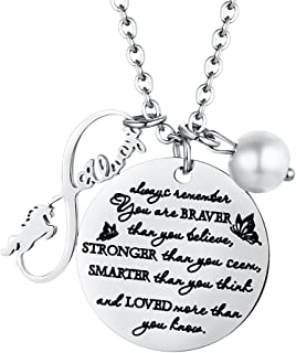 Inspirational Jewelry Infinity Necklace Graduation Gift for Women Girls - You are Braver Stronger Smarter Than You Think