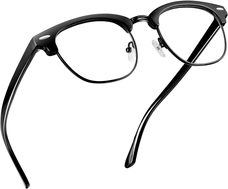 ELEBOOT Blue Light Blocking Glasses for Computer Gaming/TV/Phones Anti Eye Strain,Half semi Rimless Anti Blue Light Blocker Eyewear for Women Men