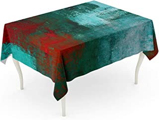 Tarolo Rectangle Tablecloth 60 x 84 Inch Teal Black Turquoise and Red Abstract Painting Green Artistic Bright Canvas Color Contemporary Table Cloth