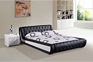 Container Furniture Direct Dorian Collection Contemporary Button Tufted Upholstered Faux Leather Platform Bed, Eastern King, Black