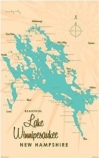 Lake Winnipesaukee New Hampshire Vintage-Style Map Art Print Poster by Lakebound (12