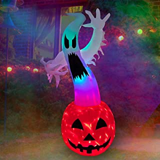SEASONBLOW 6 ft Halloween Inflatable Ghost on Pumpkin with Color Changing LED Lighted Airblown Blow Up Decoration for Lawn...