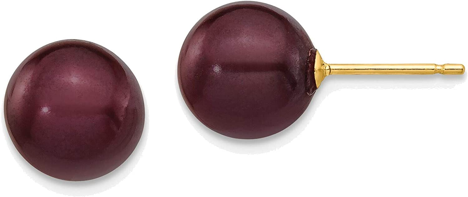 8-9mm Coffee Round Freshwater Cultured Pearl Stud Post Earrings in 14K Yellow Gold