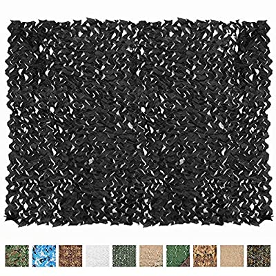 iunio Camo Netting, Camouflage Net, Bulk Roll, Mesh, Cover, Blind for Hunting, Decoration, Sun Shade, Party, Camping, Outdoor (Black, 16.4ftx5ft 5mx1.5m)