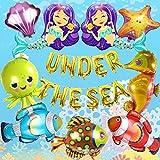 JOYMEMO Under The Sea Juego de Globos Animales Grandes Criaturas Marinas Sirena Lámina Globos Pescados Tropicales Mylar Globos Autoadhesivos para niños Decoraciones para Fiestas de cumpleaños