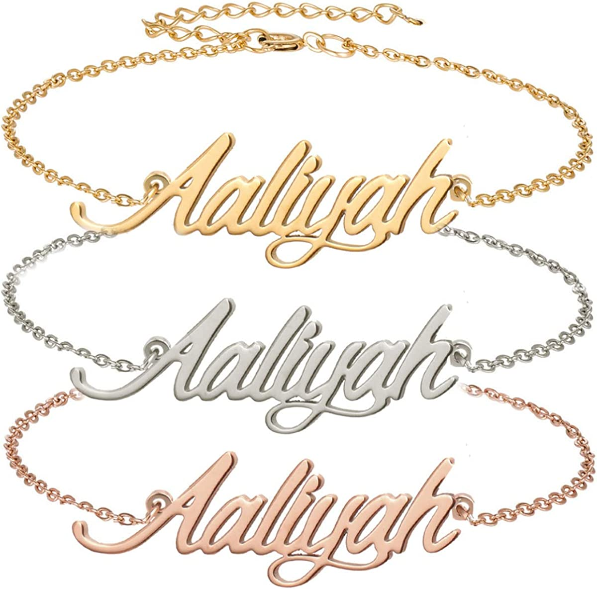 Aoloshow Stainless Steel Personalized Name Necklace Bracelet Jewelry Custom Made Any Names