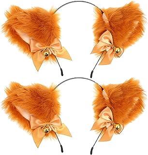 Beaupretty 2 st anime söta öron pannband plysch furry katt räv öron med band klockor huvud band cosplay kostym tillbehör