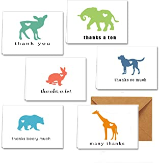 48 Cute Thank You Cards for Kids Baby Shower, Birthday, Bridal Shower. Funny Thank You Notes Cards Bulk Pack, 6 Assorted Funny Animal Design Blank On the Inside Correspond with Brown Envelopes