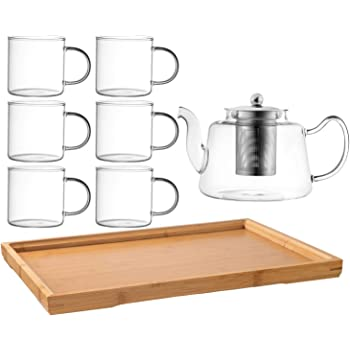 Royalty Art Vintage Glass Tea Set with Cups, Kettle Pot with Leaf Infuser, and Wood Serving Tray, Decorative and Modern Serving Dishware, Home and Party Use