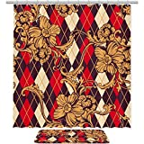 AIBILI Duschvorhang-Sets mit rutschfesten Teppichen, Duschvorhänge mit 12 Haken, langlebiger wasserdichter Badvorhang mit roten High Heel Brillen, Rot-Orange Blume, Shower curtain 70.8x70.8in